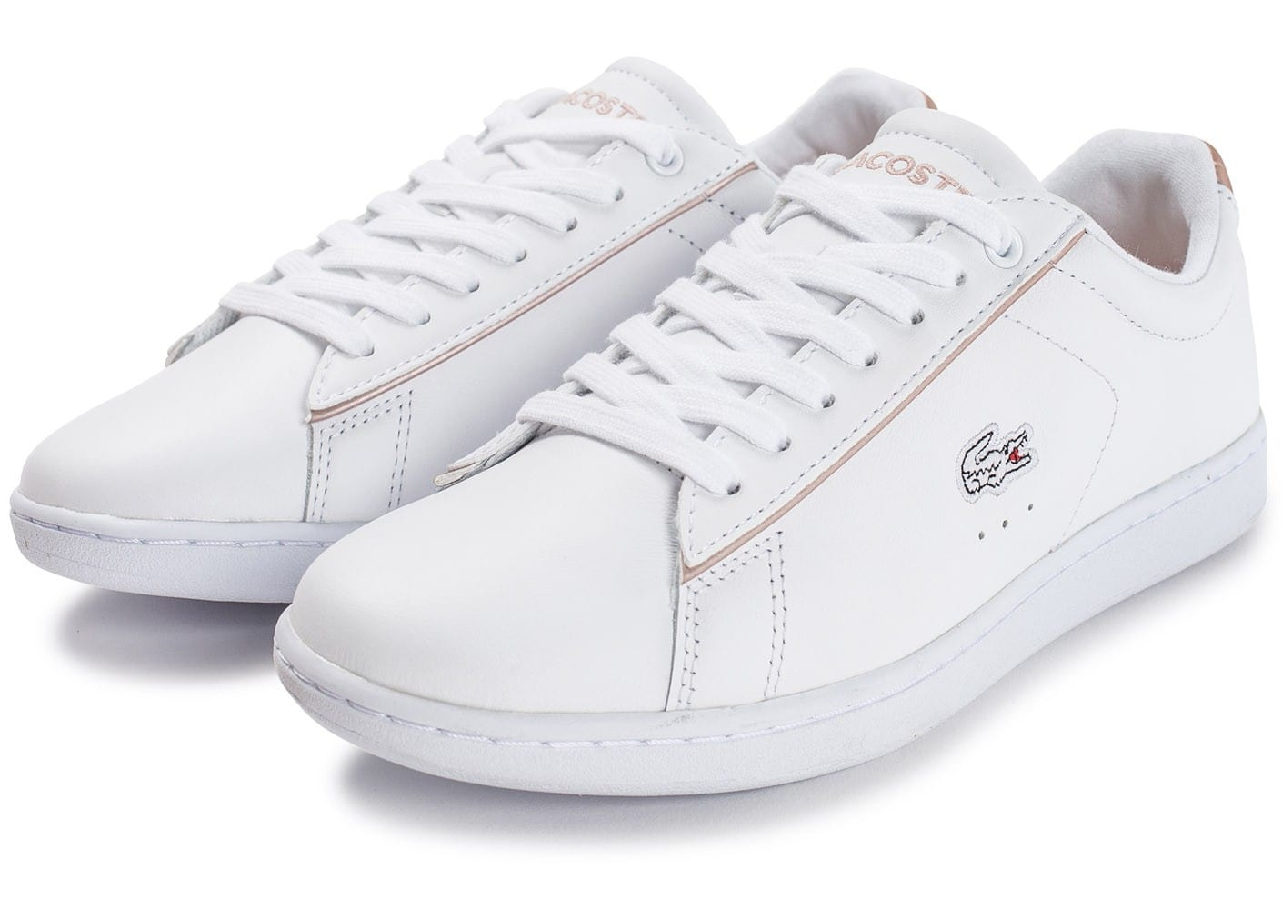 new authentic shopping where to buy Lacoste Carnaby EVO blanche et rose perle - Chaussures ...