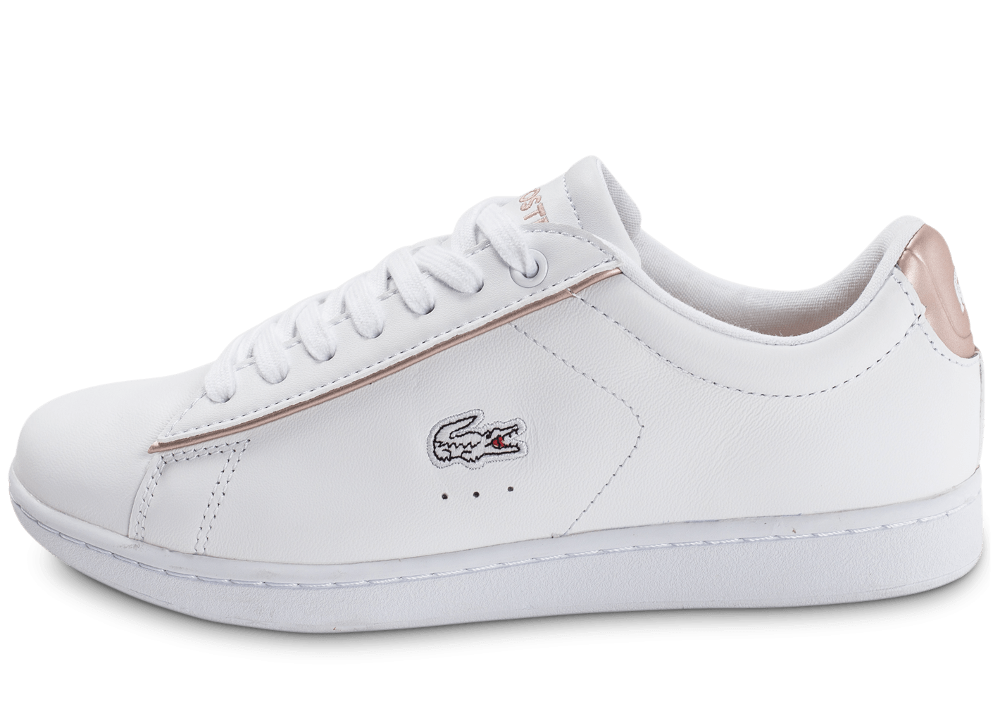 198de9601f27 Lacoste Carnaby EVO blanche et rose perle - Chaussures Baskets femme -  Chausport