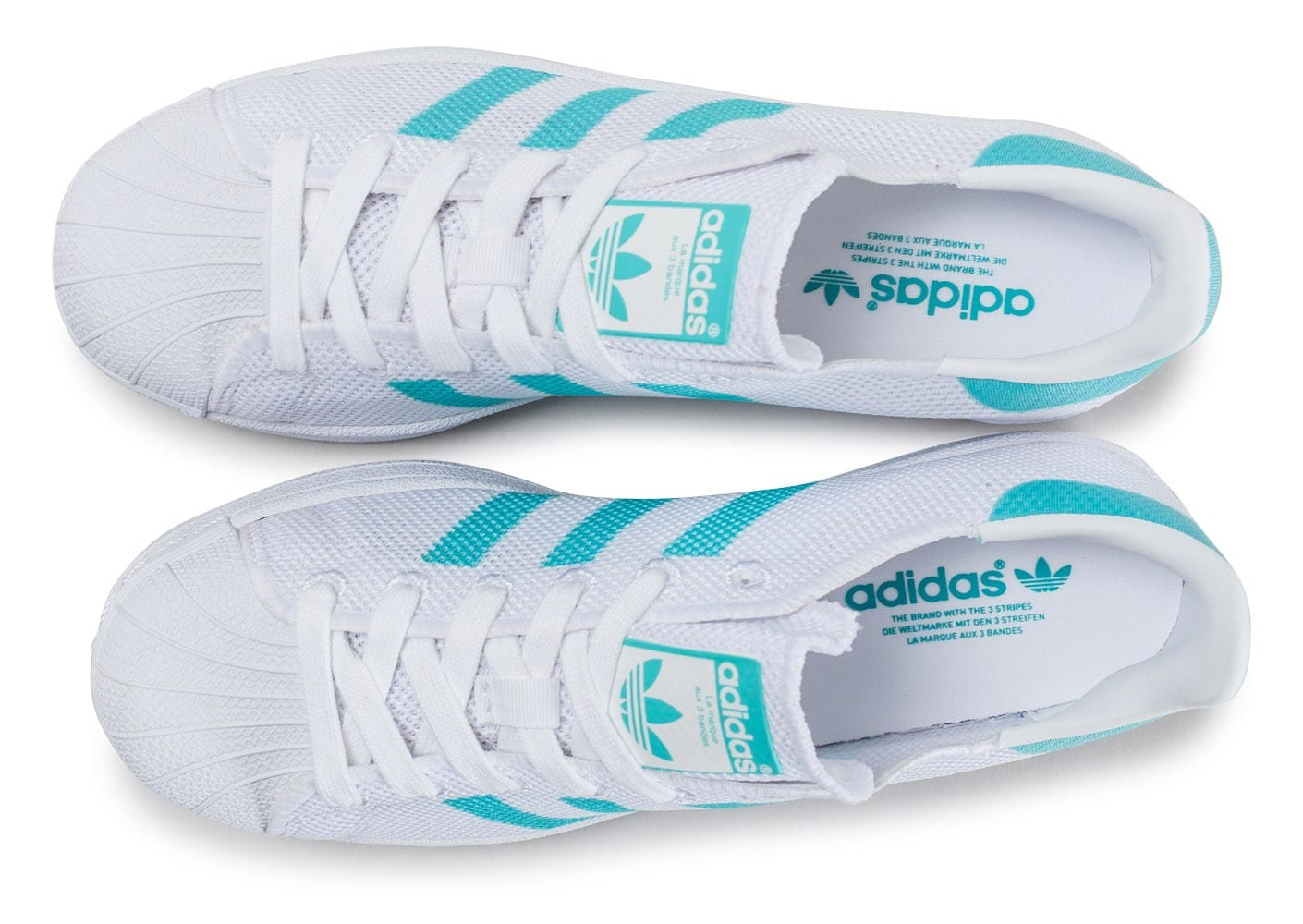 adidas Superstar Mesh blanche et turquoise Chaussures