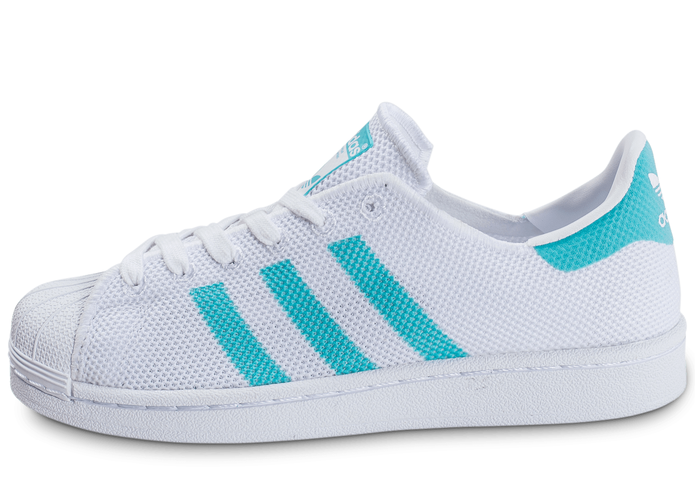 adidas Superstar Mesh blanche et turquoise