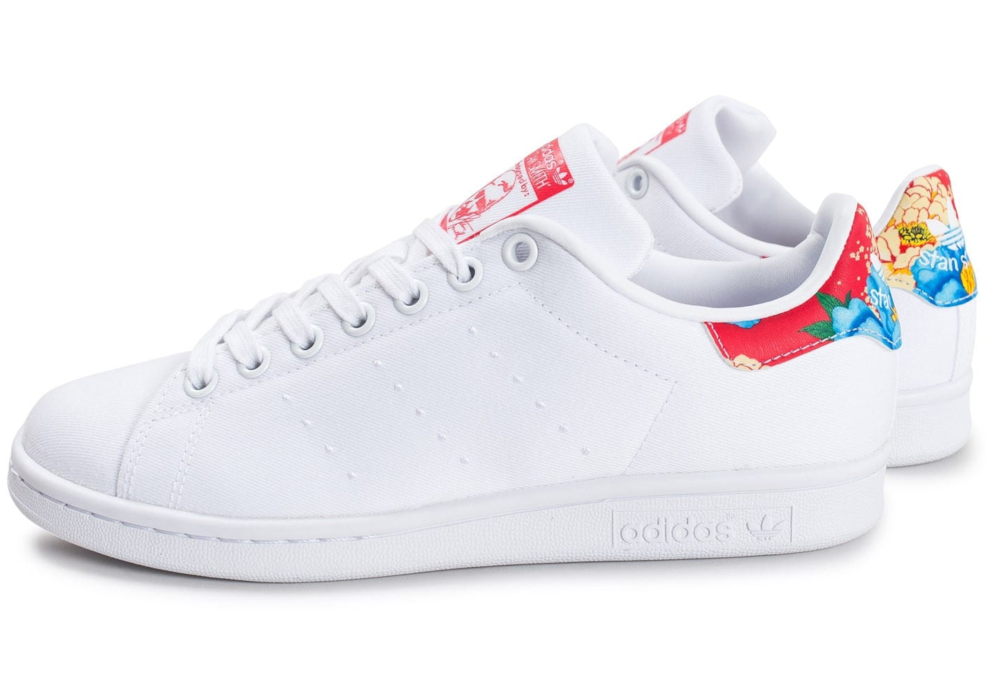reputable site a5ae5 129aa Cliquez pour zoomer Chaussures adidas Stan Smith The Farm Company W blanche  vue extérieure ...