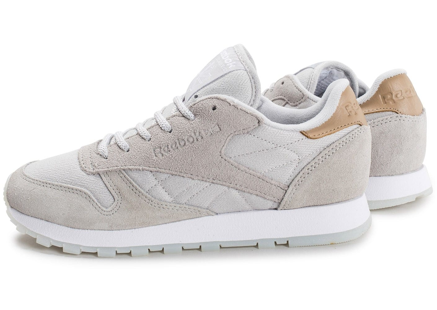 info for 9e3b4 aa5b8 Baskets Sea Reebok Classic Leather Chaussures Femme Grise Worn p4wv4