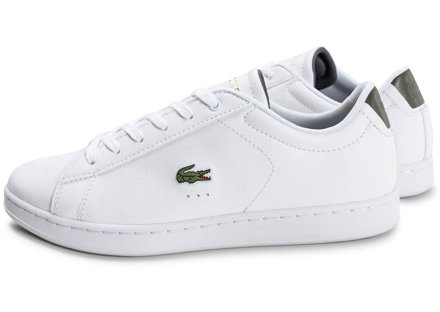 low priced sneakers 50% price Lacoste Carnaby EVO blanche et kaki - Chaussures Baskets ...