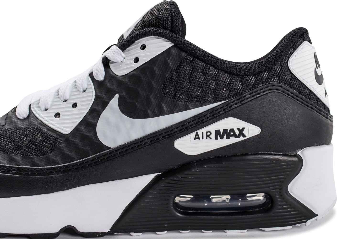 new styles 09c7f e2080 ... Chaussures Nike Air Max 90 Ultra 2.0 BR Junior noire et blanche vue  dessus
