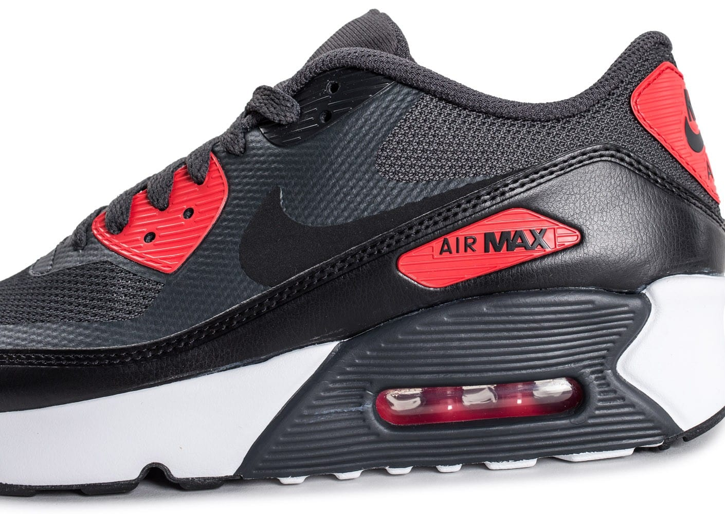 official photos 8d069 40aed ... Chaussures Nike Air Max 90 Ultra 2.0 Junior Anthracite et rouge vue  dessus