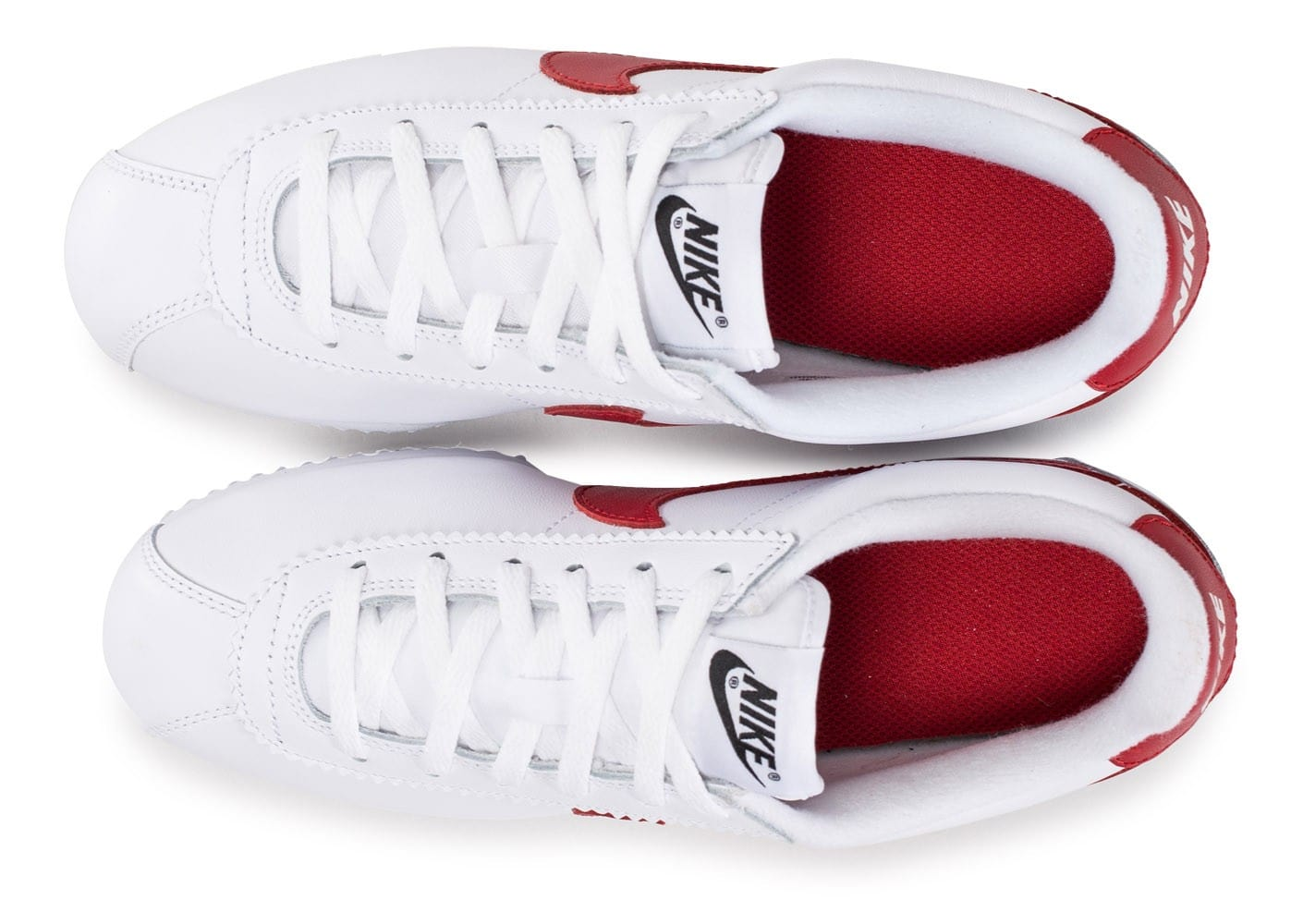 half off 09006 d88fd Et Junior Se Chaussures Blanche Bleue Cortez Rouge Nike Leather ABWnZAS