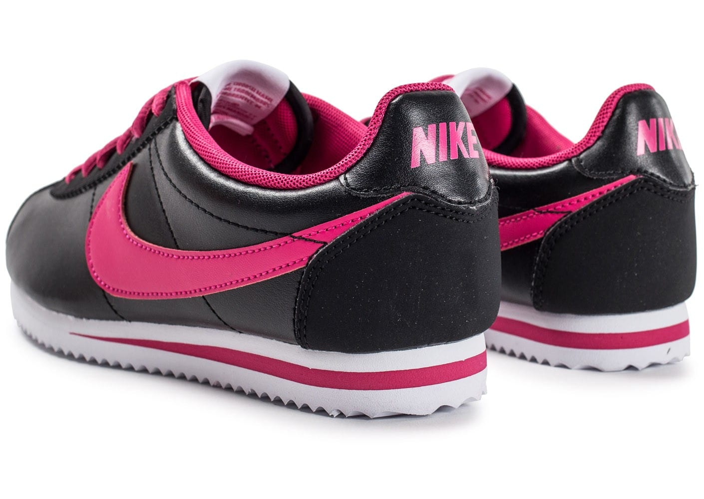 nike cortez junior cuir noire et rose chaussures chaussures chausport. Black Bedroom Furniture Sets. Home Design Ideas