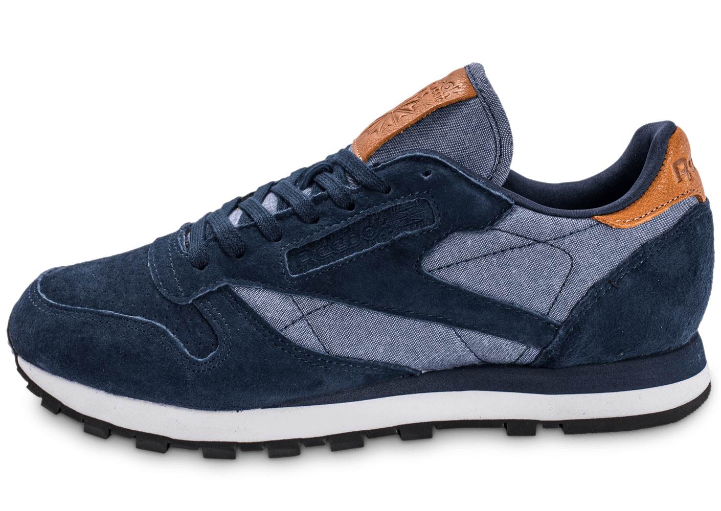 1ae7ed9f42075 Reebok Classic Leather Chambray bleu marine - Chaussures Baskets homme -  Chausport
