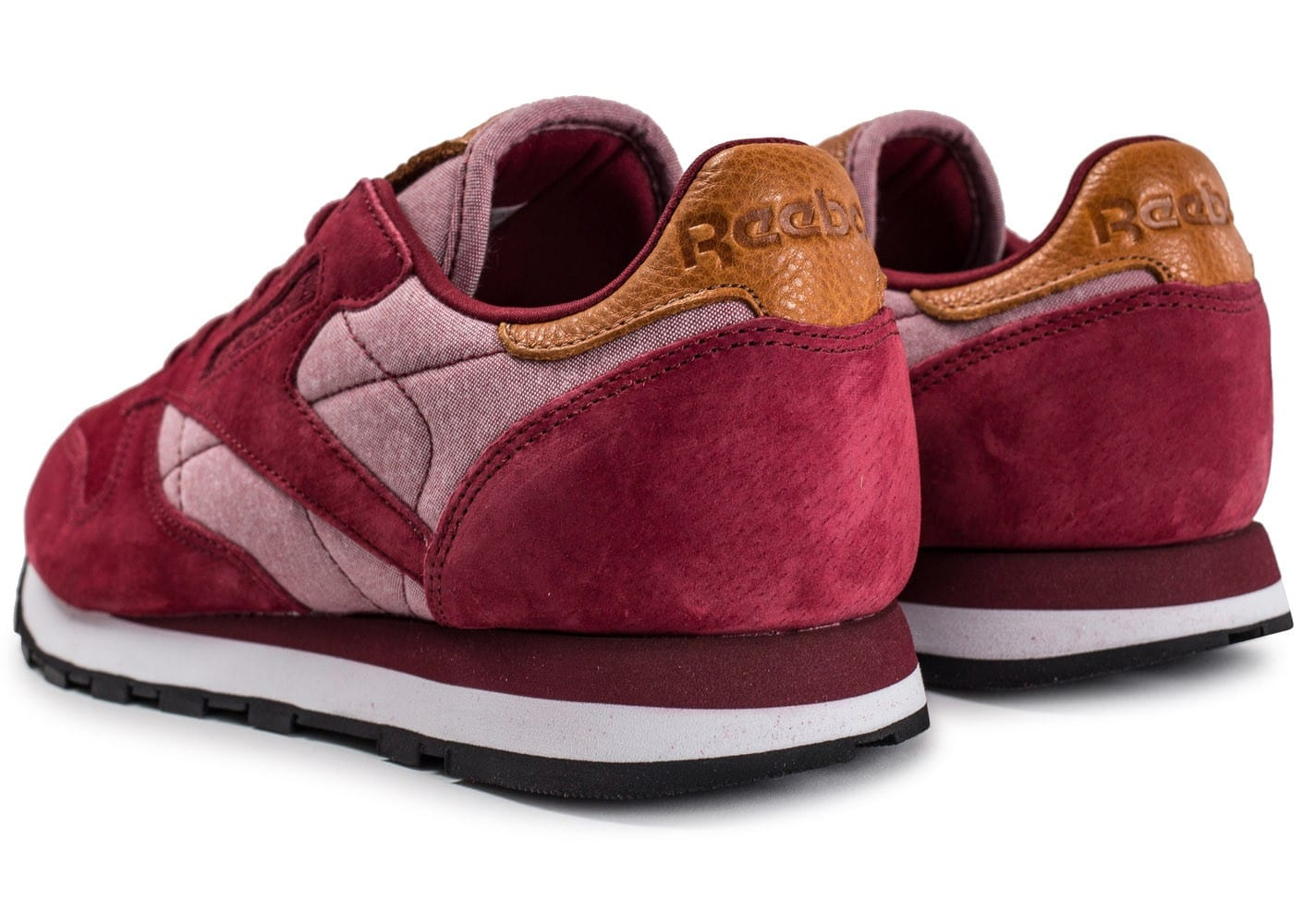 6d945e8813f96 Reebok Classic Leather Chambray bordeaux - Chaussures Baskets homme .. ...
