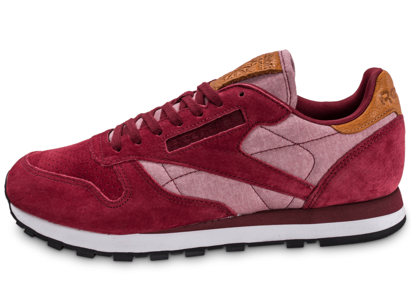 Reebok Homme Bordeaux Leather Chambray Classic Baskets Chaussures WvqUfgBHw
