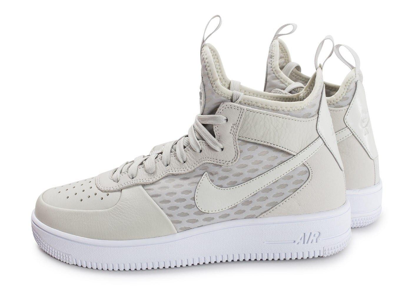 buy popular cbb49 d5d1c Nike Air Force 1 Ultraforce Mid Light Bone Gris - Chaussures Basket  montante Homme GH8HUA1Z - destrainspourtous.fr