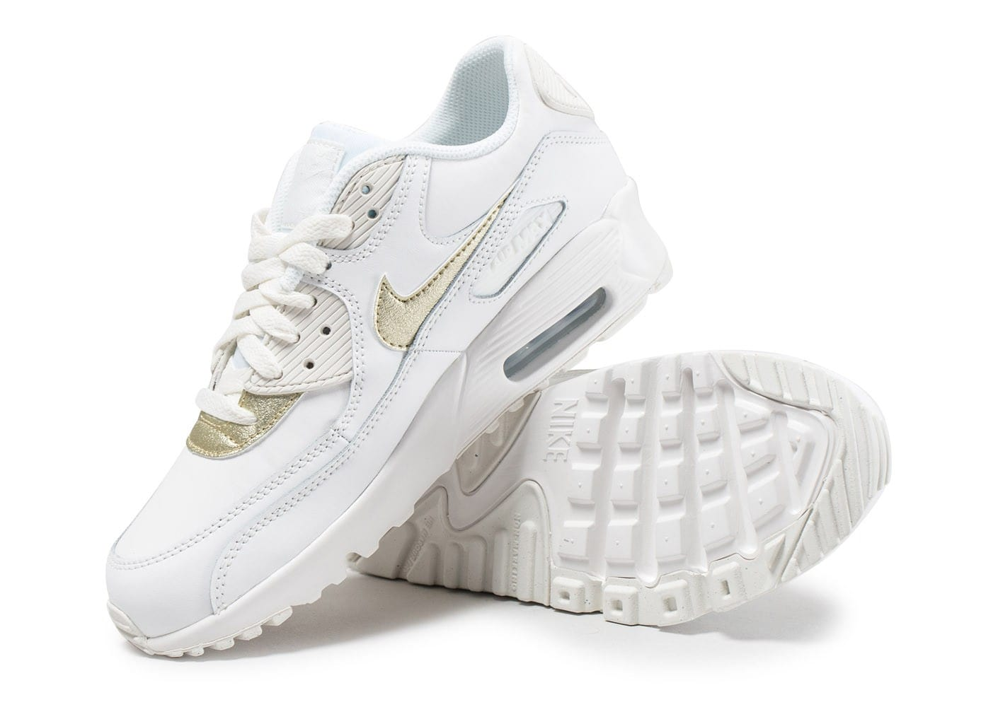 ... Chaussures Nike Air Max 90 Leather Junior blanche et or vue avant ...