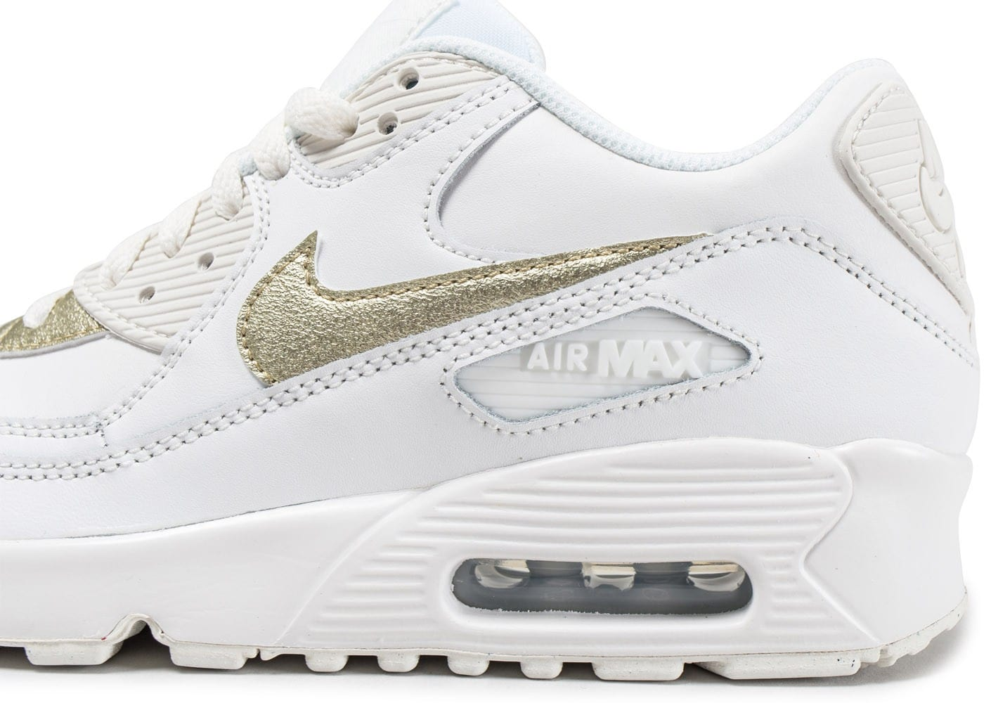 reputable site 1a08b 28d6f Chaussures Nike Air Max 90 Leather Junior blanche et or vue dessus