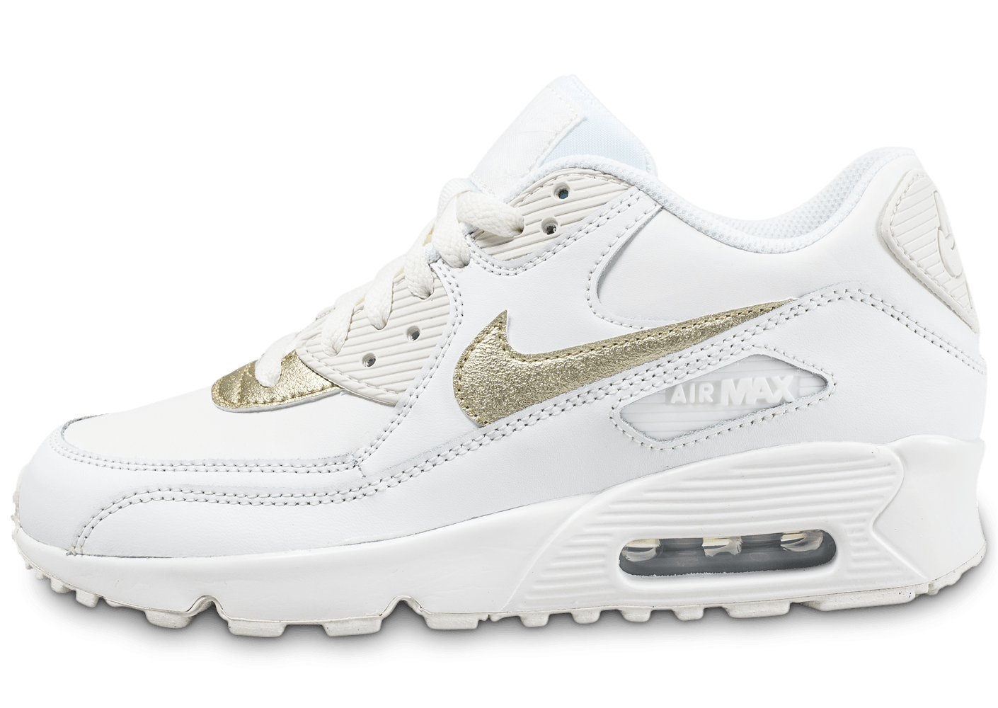 acheter en ligne f08eb 8cb9d Nike Air Max 90 Leather Junior blanche et or