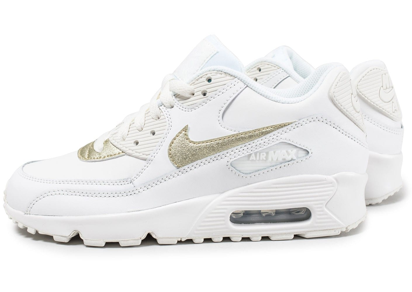Nike Air Max 90 Leather Junior blanche et or Chaussures Baskets