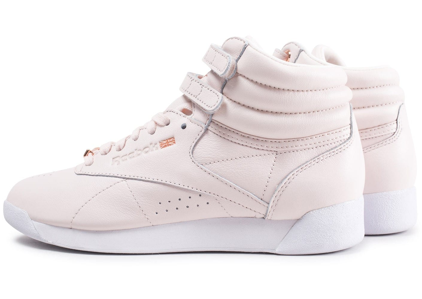 2cac34f6be8 Cliquez pour zoomer Chaussures Reebok Freestyle Hi Muted rose clair vue  extérieure ...