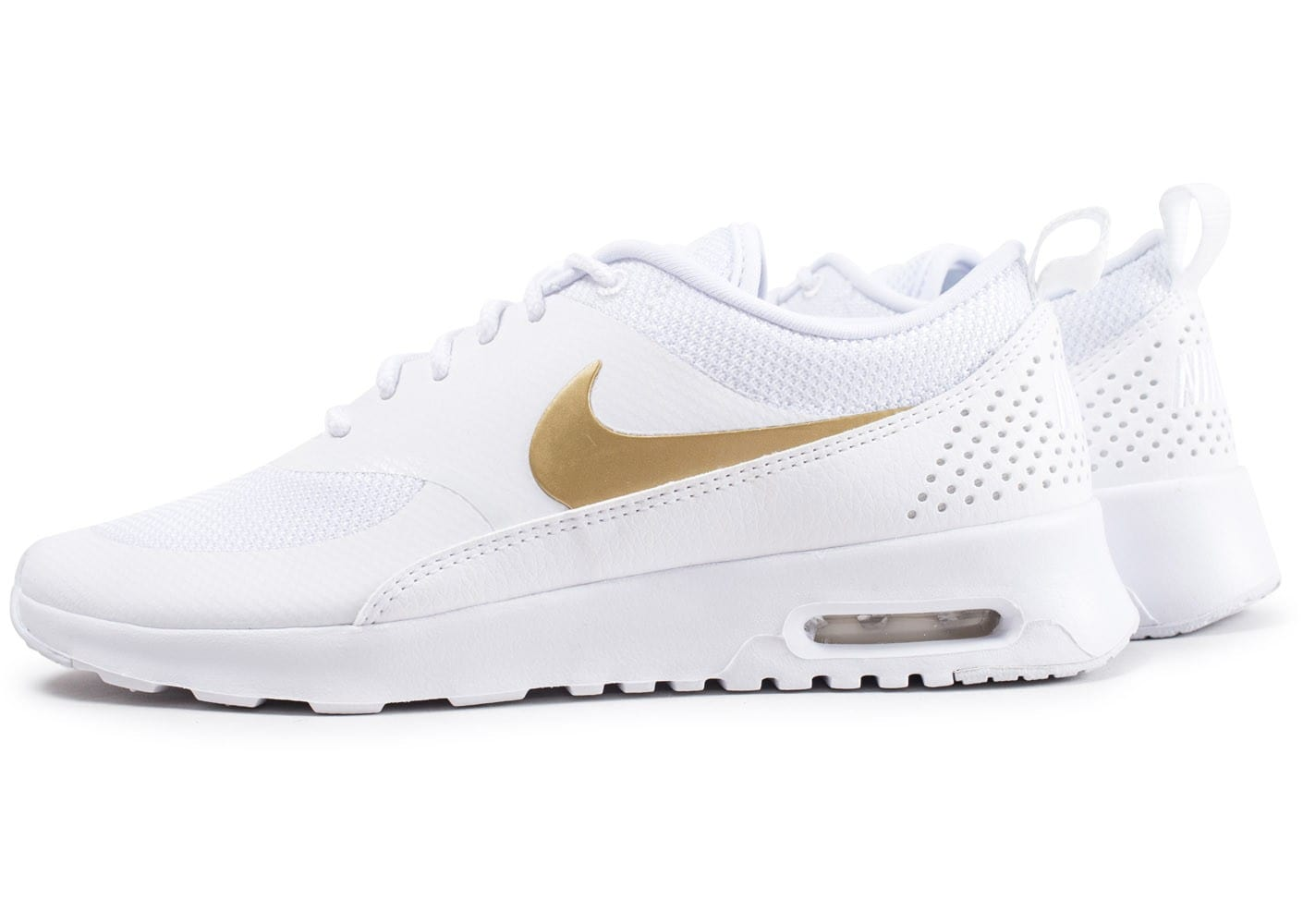 nouveau style 975b5 98578 Nike Air Max Thea blanche et or - Chaussures Baskets femme ...