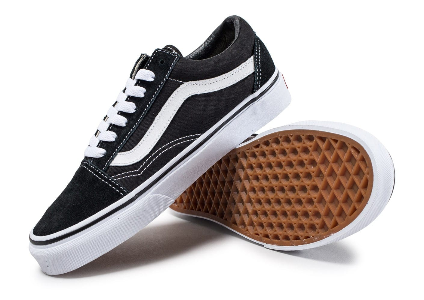 vans old skool low noire et blanche chaussures baskets femme chausport. Black Bedroom Furniture Sets. Home Design Ideas