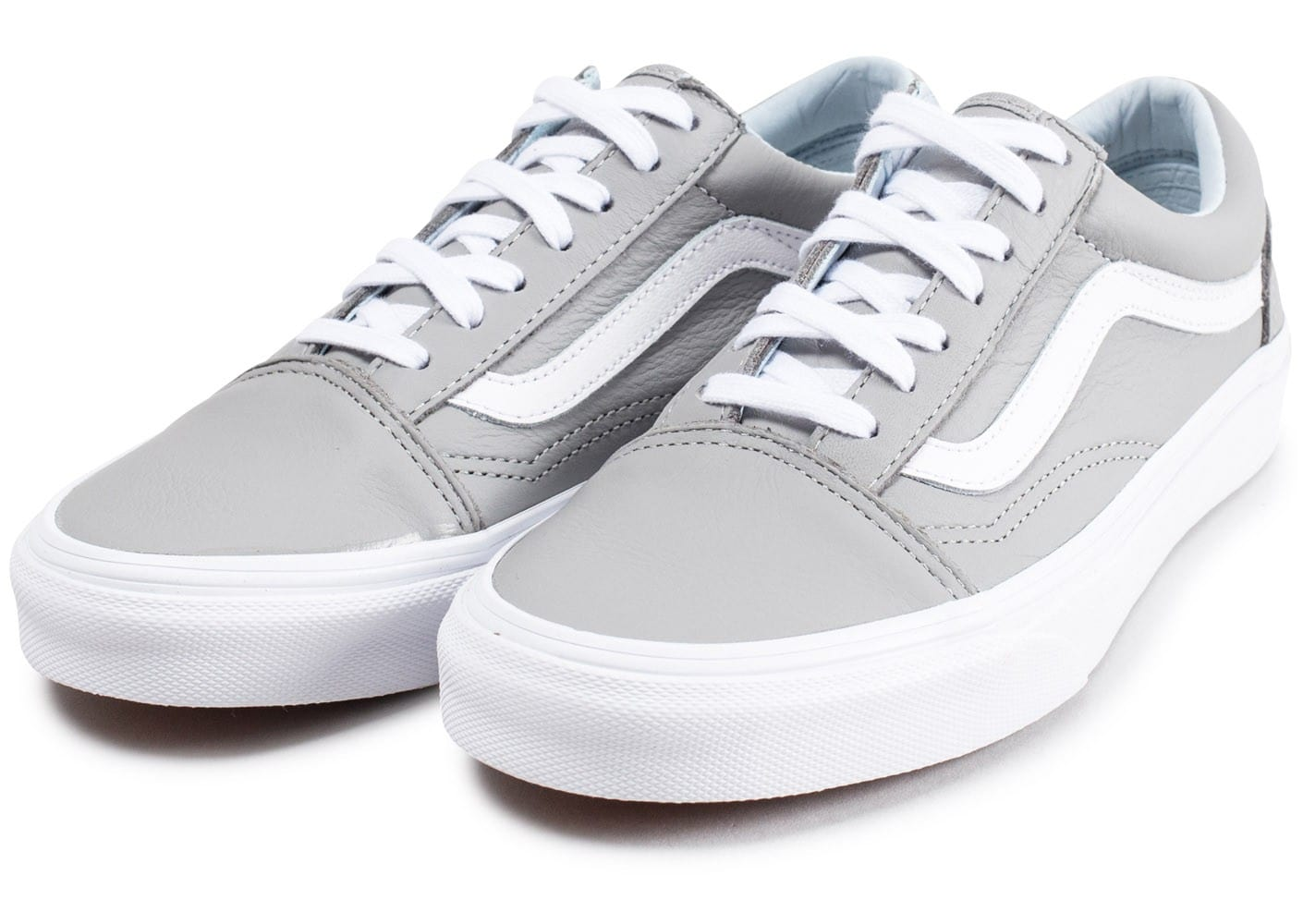 Vans Old Skool Leather grise et blanche - Chaussures Baskets ...