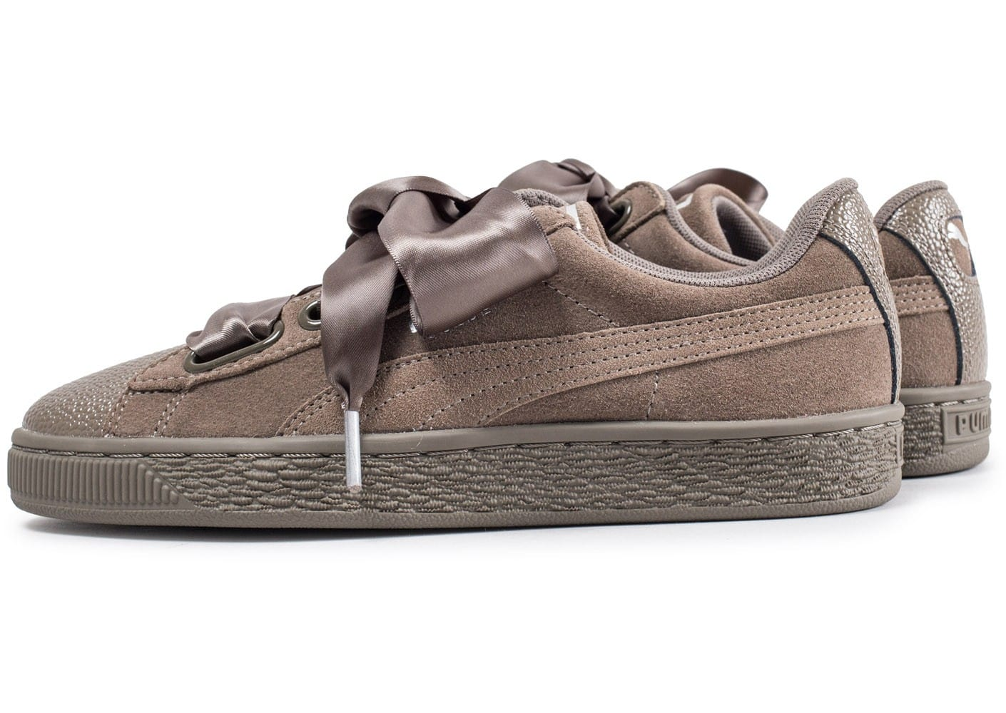 Puma Suede Heart Bubble marron et kaki Chaussures Baskets