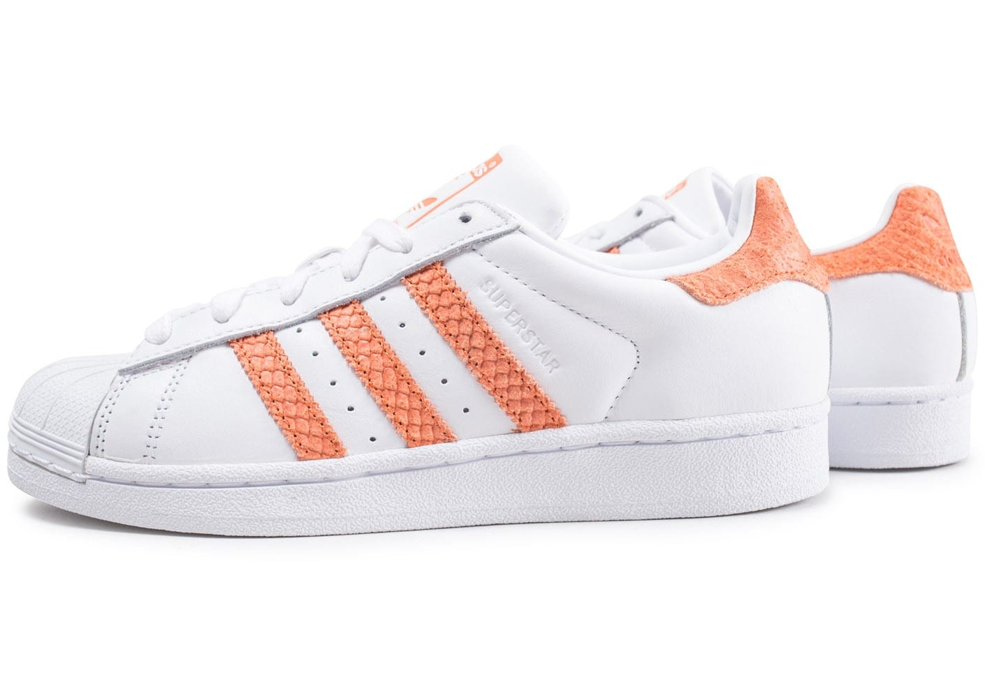 adidas Superstar blanche et orange - Chaussures
