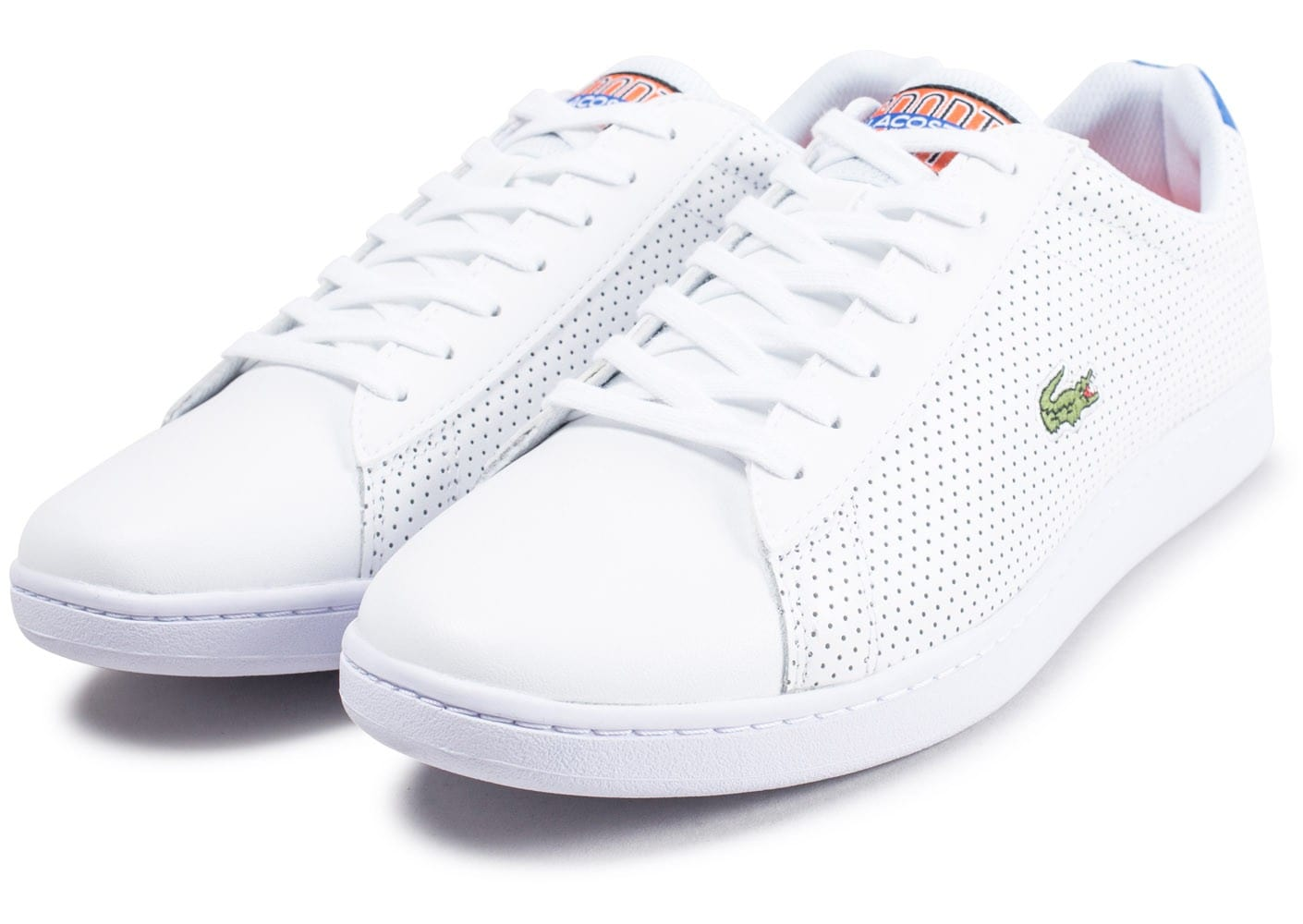 e66cdd50eeb ... Chaussures Lacoste Carnaby Evo blanche et bleu turquoise vue intérieure  ...