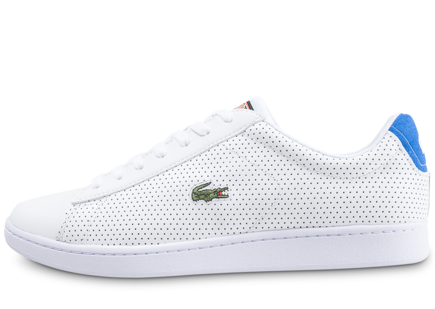 1f5b466f354 Lacoste Carnaby Evo blanche et bleu turquoise - Chaussures Baskets homme -  Chausport