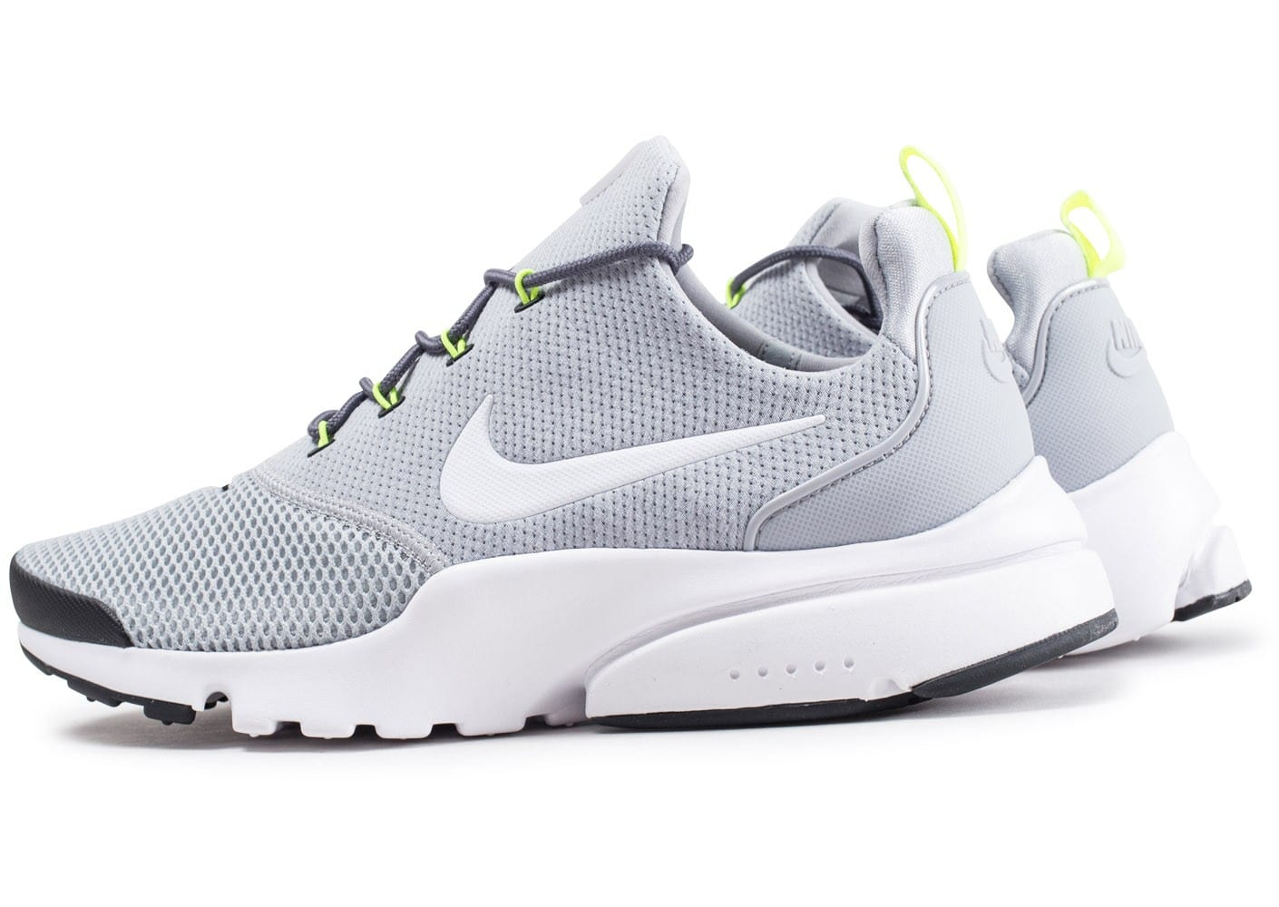 free shipping 7a595 c2bf8 Cliquez pour zoomer Chaussures Nike Presto fly grise et blanche vue  extérieure ...
