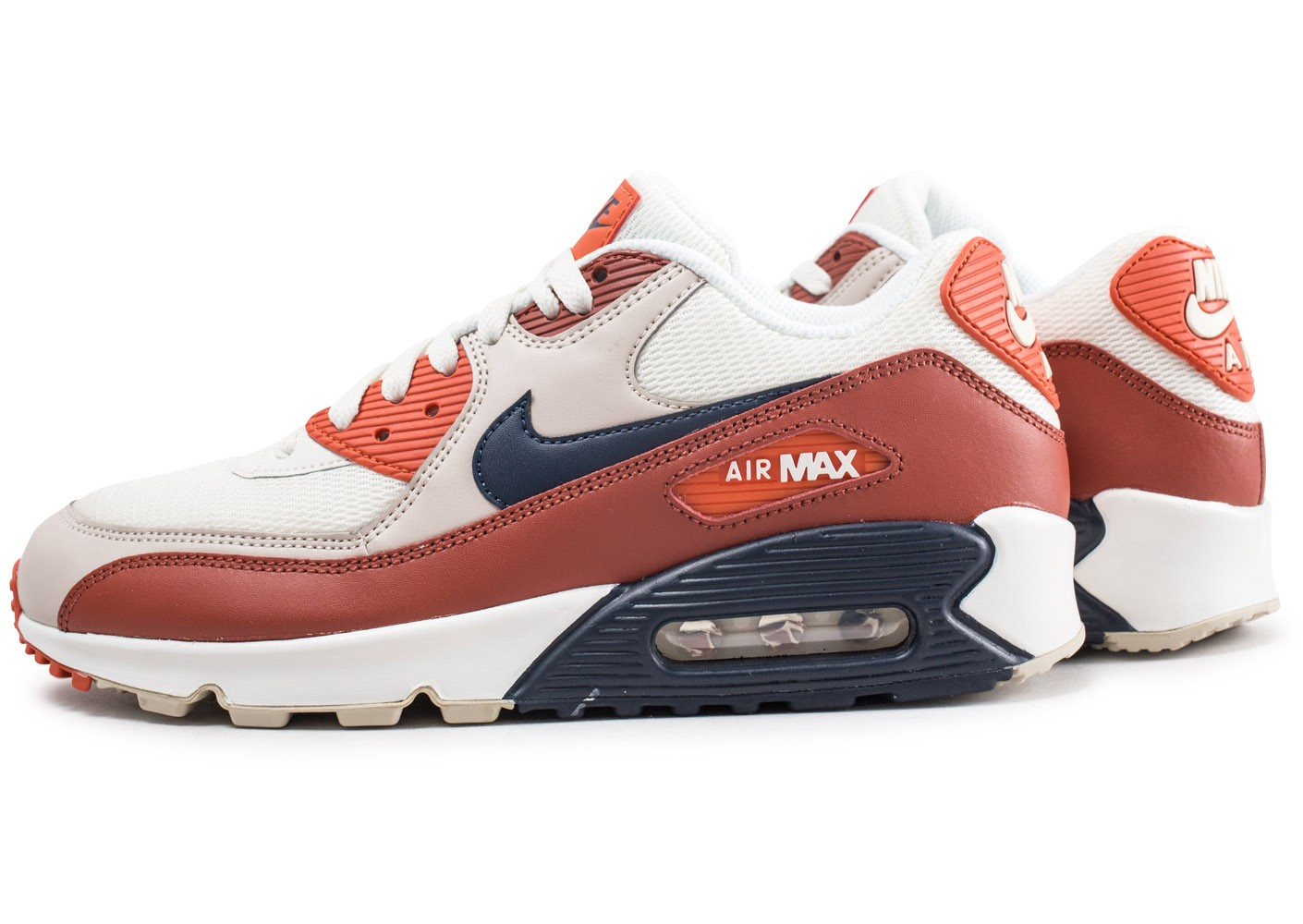Nike Air Max 90 Essential Mars Beige/Bleu/Marron/Orange - Chaussures Baskets basses Homme