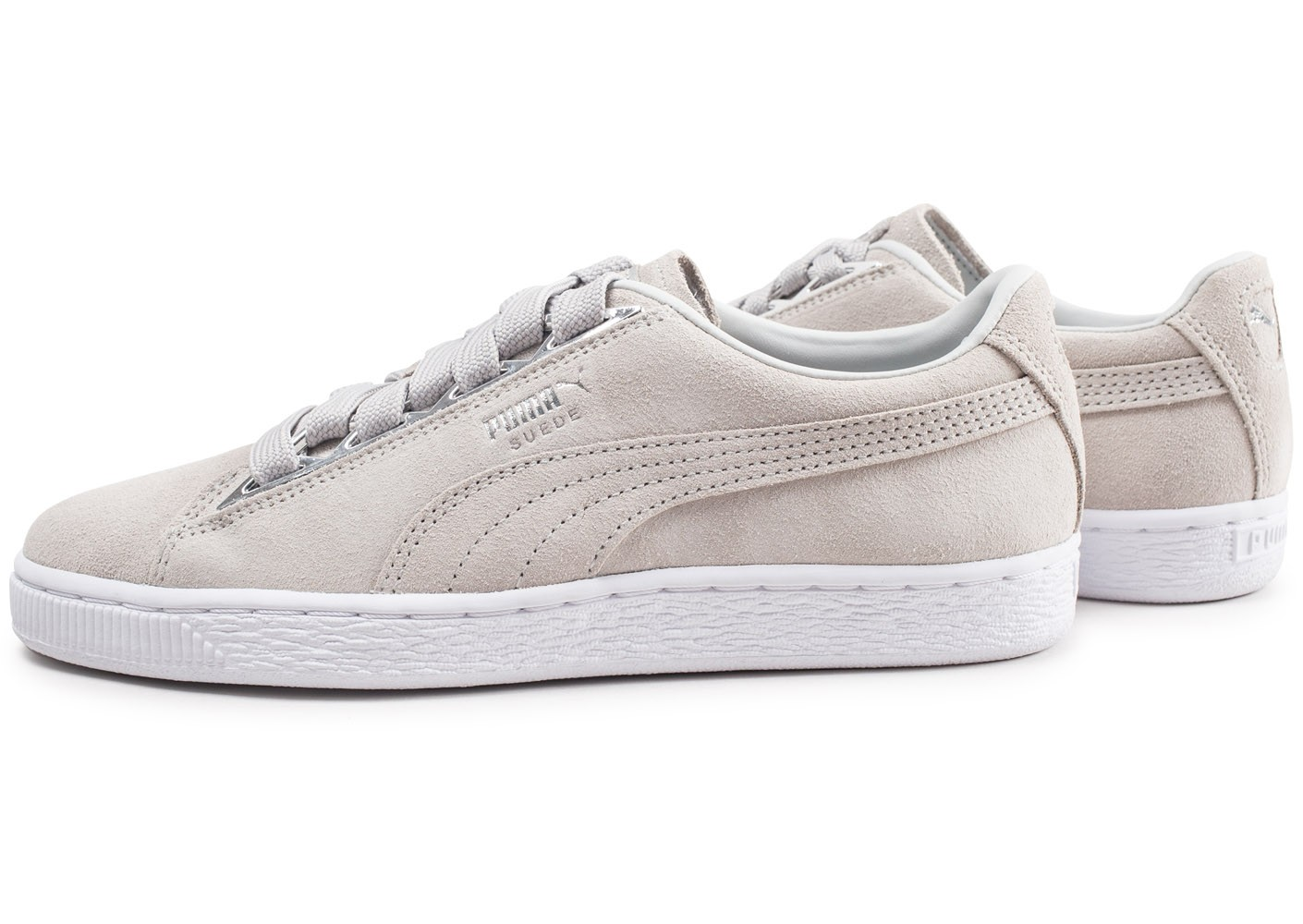 Suede Femme Chaussures Metallic Puma Grise Jewel Baskets thdQxBorCs