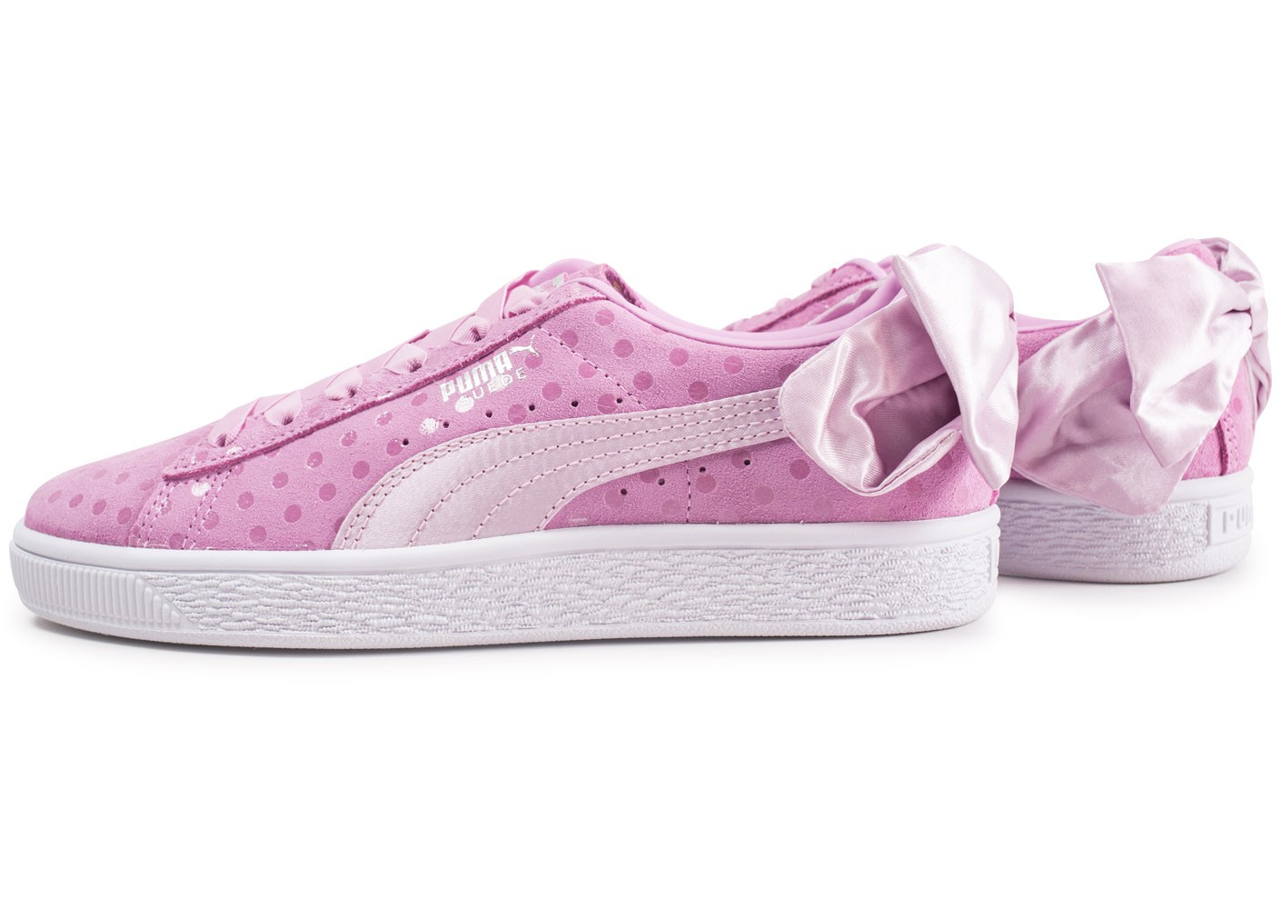 Puma Suede Bow Dots rose Chaussures Prix stylés Chausport