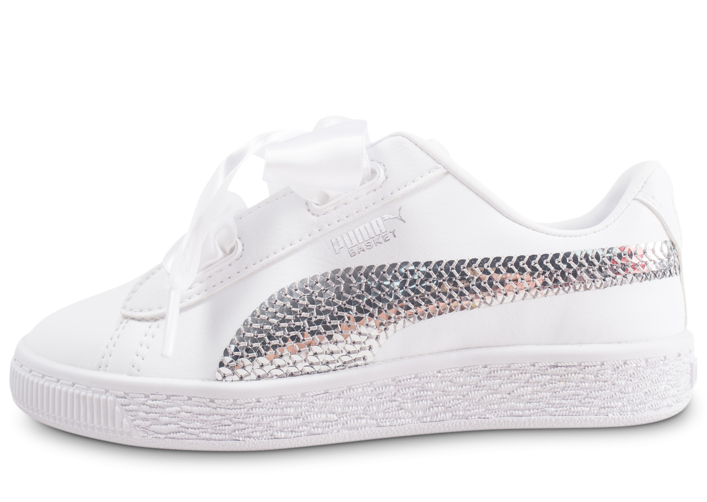 Puma Basket Heart Bling blanche enfant