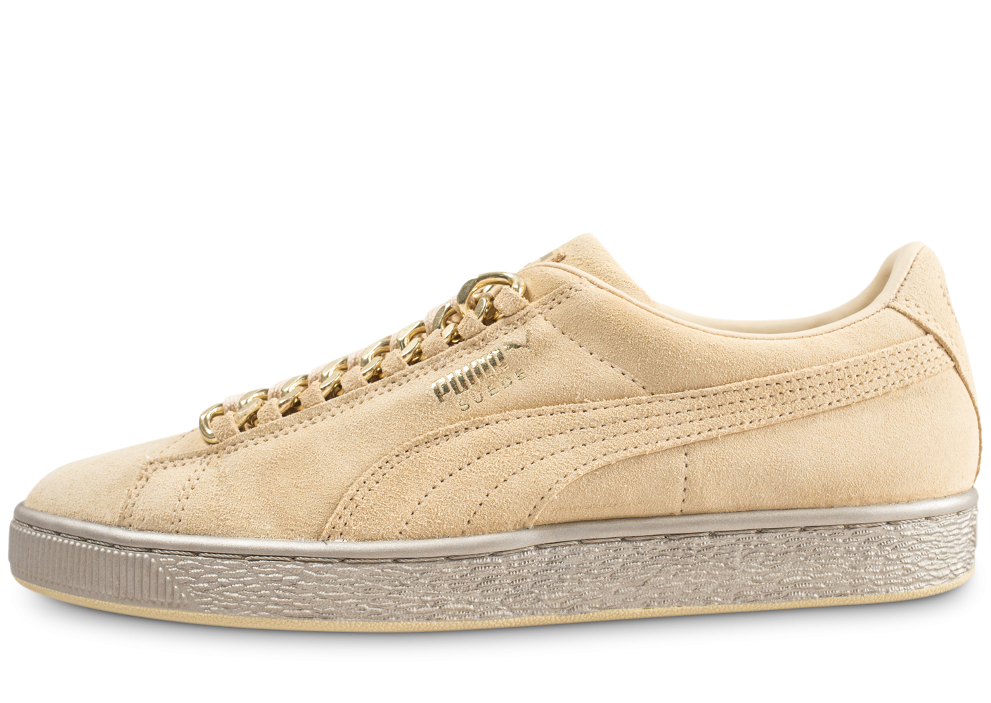 design intemporel 18fdc 7bf14 Puma Suede Classique X Chains jaune et or