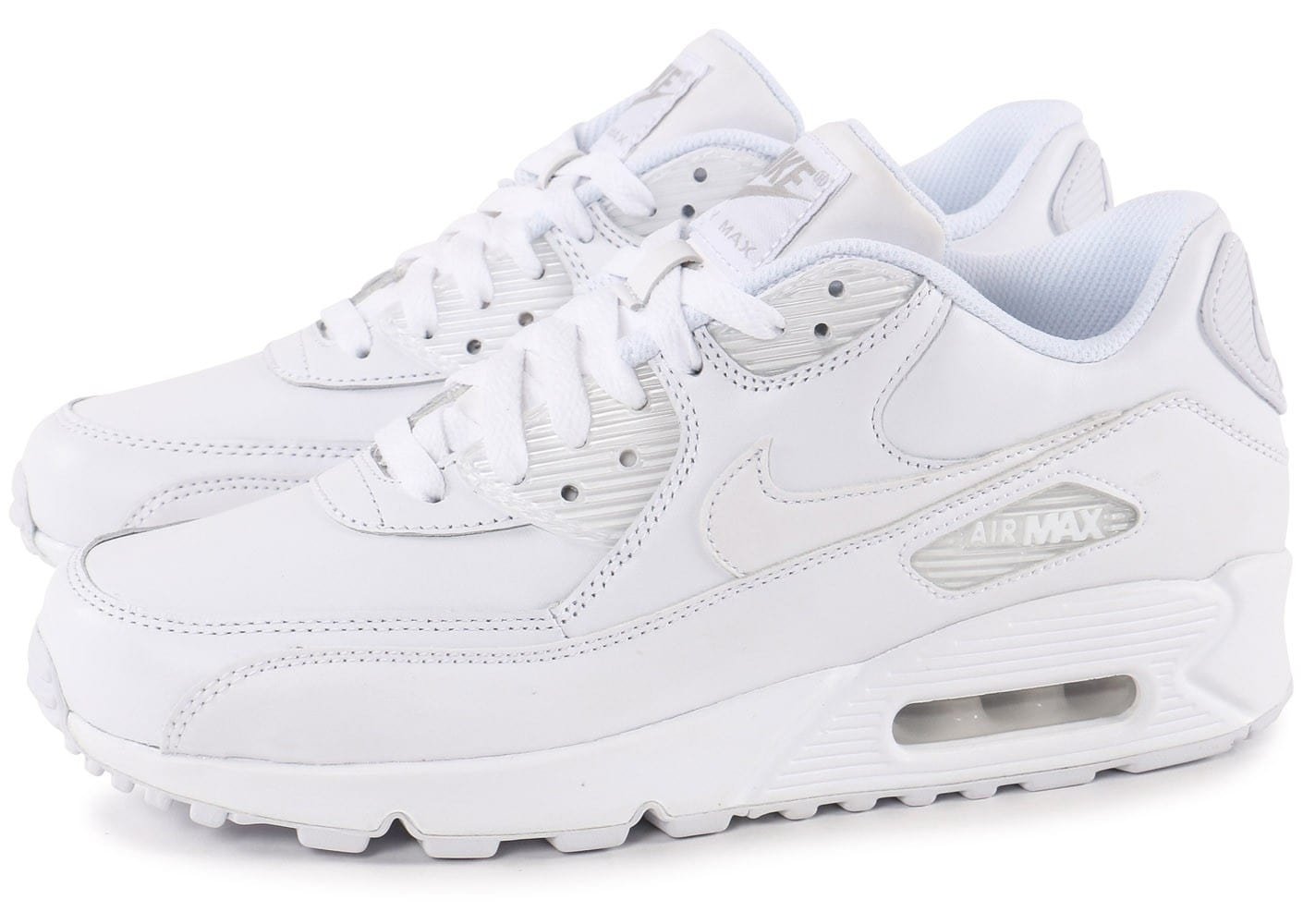 Nike Air Max 90 Leather Blanche - Chaussures Baskets homme ...