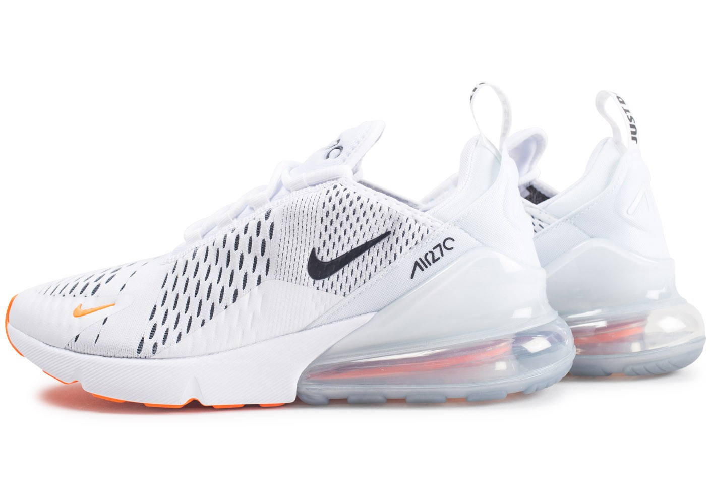 detailed look 30b99 02949 Cliquez pour zoomer Chaussures Nike Air Max 270 Just do It blanc total  orange vue extérieure ...