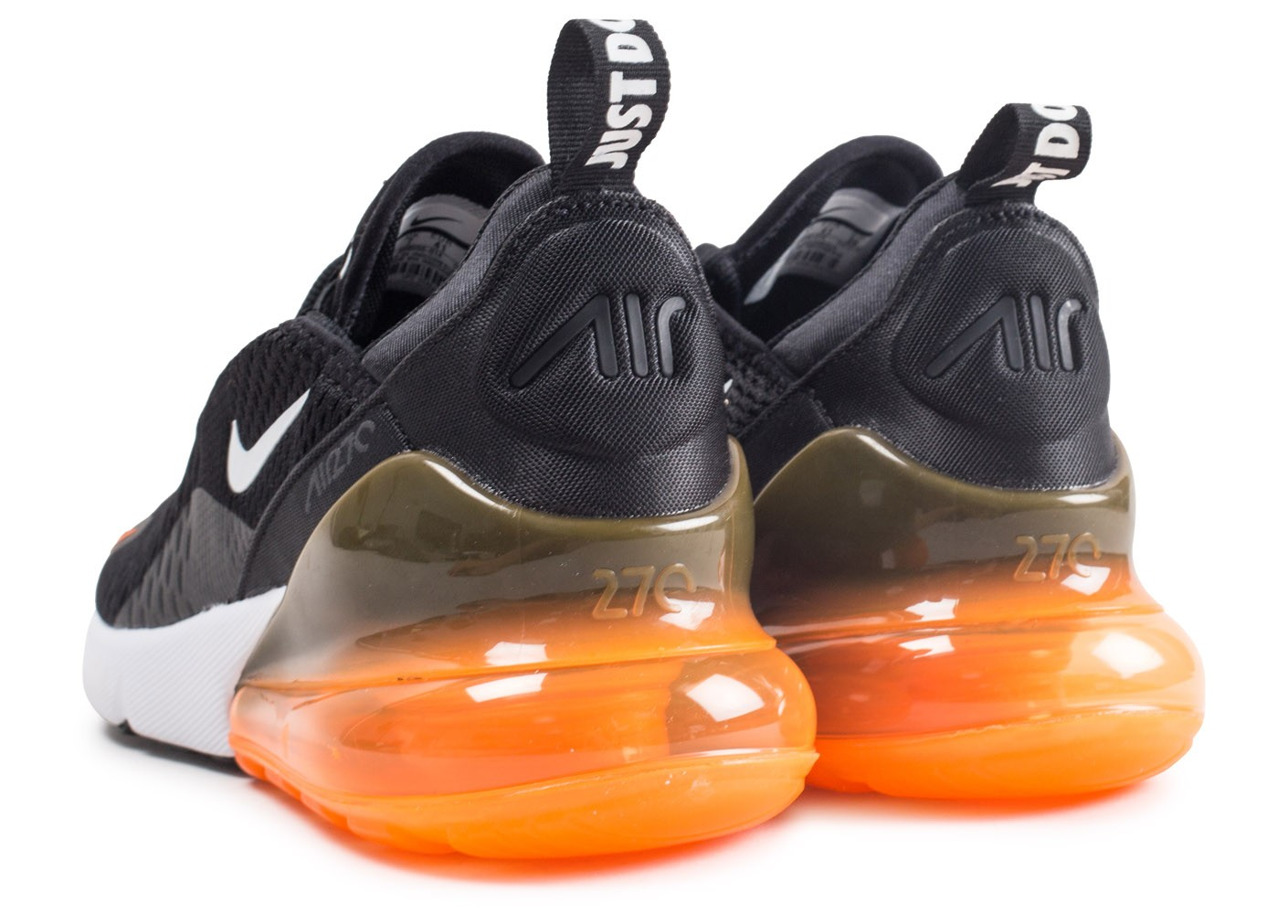pretty nice d33d4 ffed5 ... canada chaussures nike air max 270 just do it noir total orange vue  dessous 9647c bfb2c