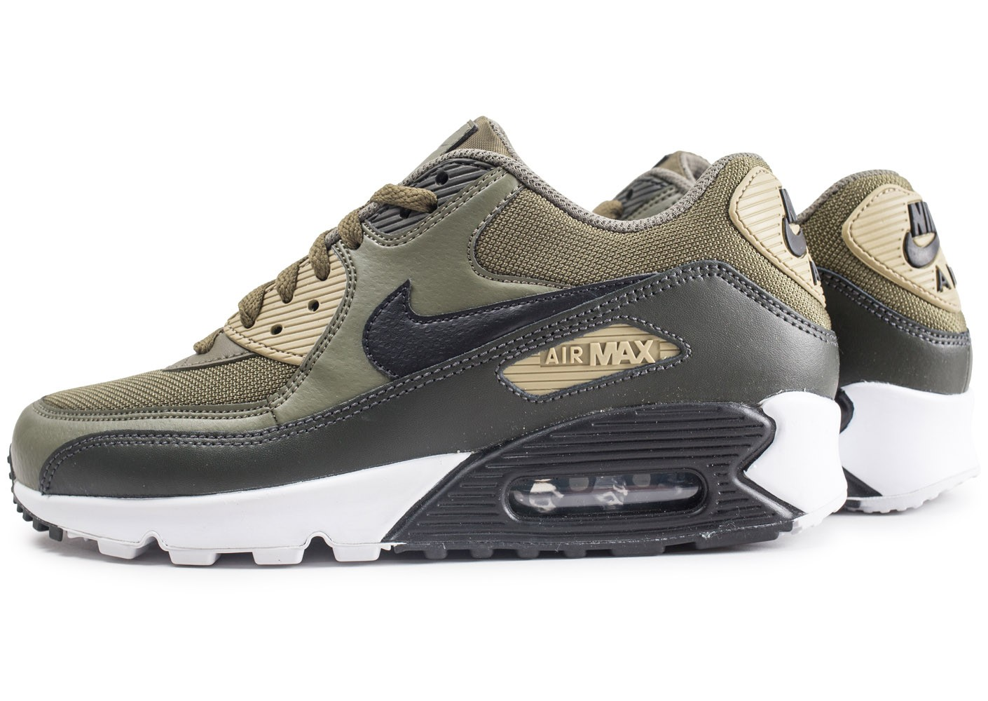 Nike Air Max 90 Essential Kaki - Chaussures Baskets homme ...