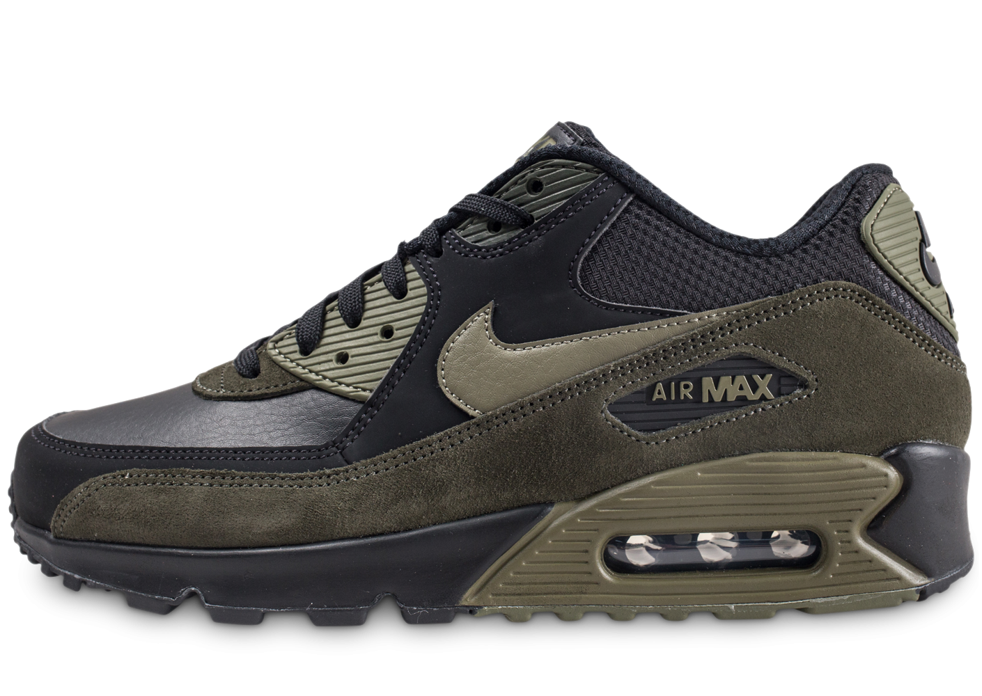 new product ee3e4 d49c7 ... norway nike air max 90 leather noire et kaki chaussures baskets homme  chausport 19ceb 34c3e