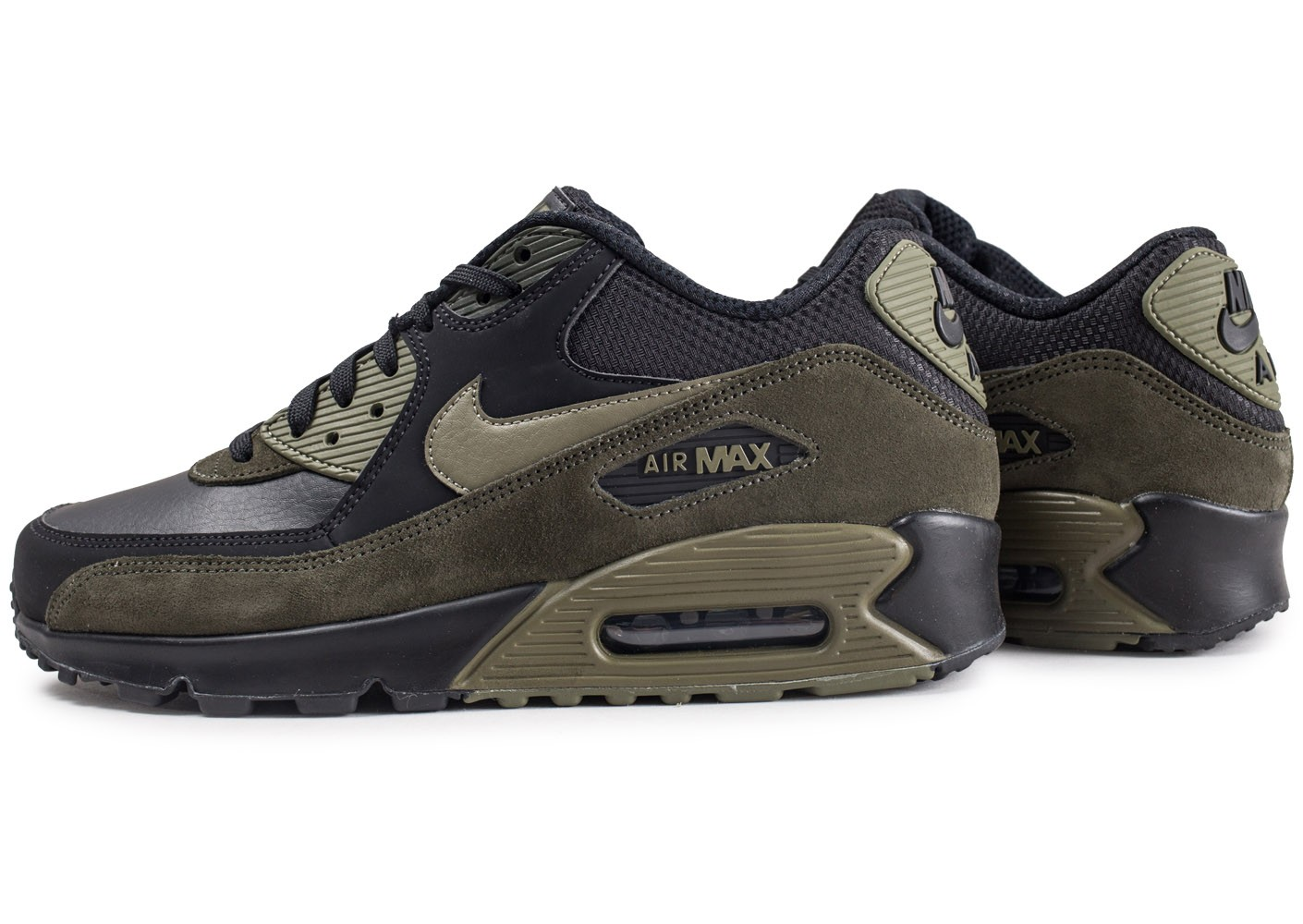 Nike Air Max 90 Leather noire et kaki Chaussures Baskets