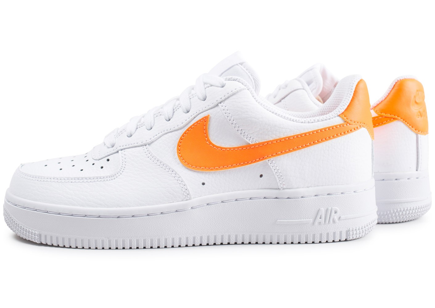 Nike Air Force 1'07 blanche et orange - Chaussures Baskets ...