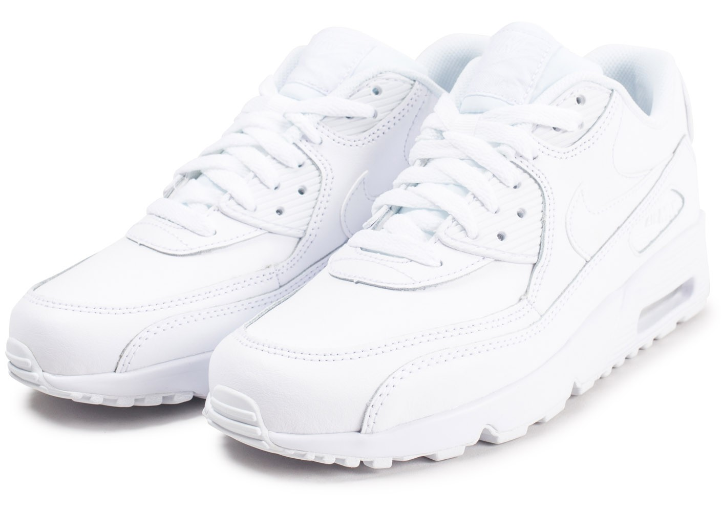 competitive price 1a1cd 189e8 ... Chaussures Nike Air Max 90 Leather blanc junior vue intérieure ...