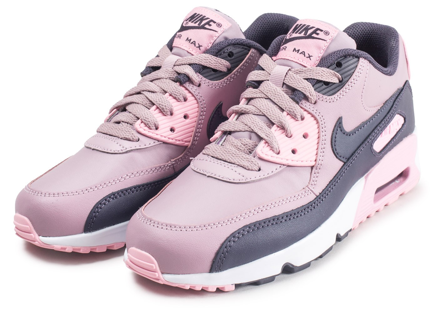 official photos b0dfd f474c ... Chaussures Nike Air Max 90 Leather rose junior vue intérieure ...
