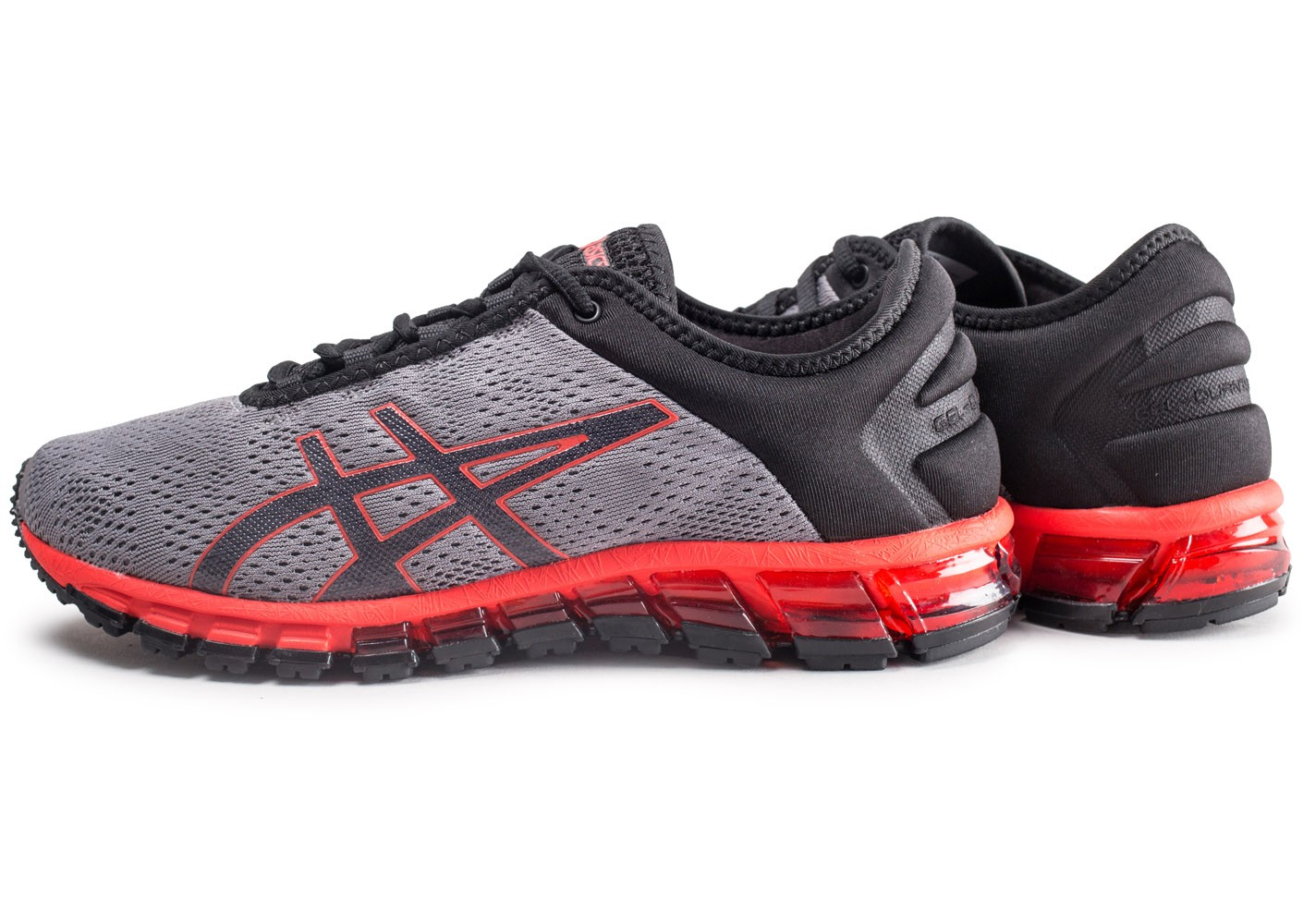 Baskets Asics Grises Baskets Grises Détail Rouge Rouge