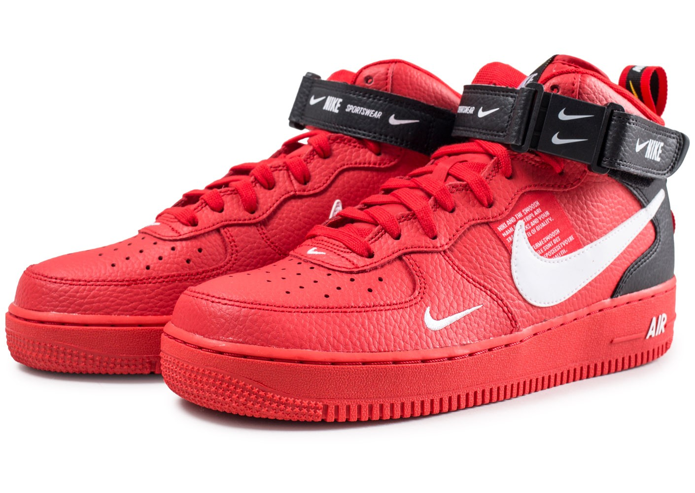 info pour 13a39 3156b Nike Nike Air Force 1 07 Mid LV8 Utility rouge - Chaussures ...
