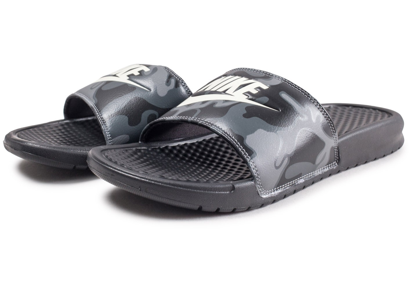 buy online bc279 20f9b ... Chaussures Nike Sandales Benassi Just Do It Printed noires vue  intérieure ...