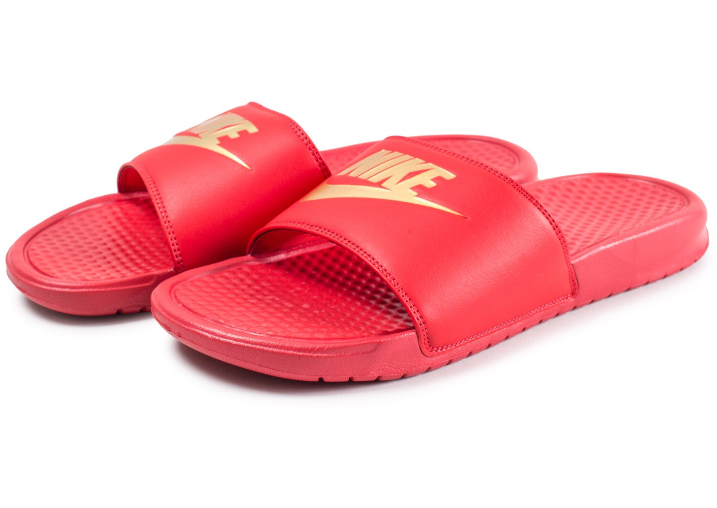 online retailer f4a2f 8e31a ... Chaussures Nike Sandales Benassi Just Do It rouge et or vue intérieure  ...