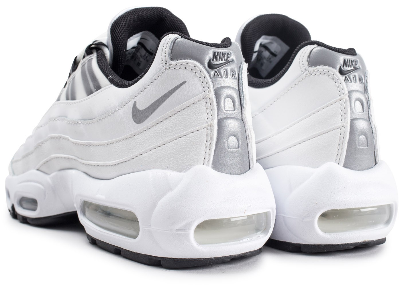 Nike Air Max 95 blanche et argent femme - Chaussures Baskets ...