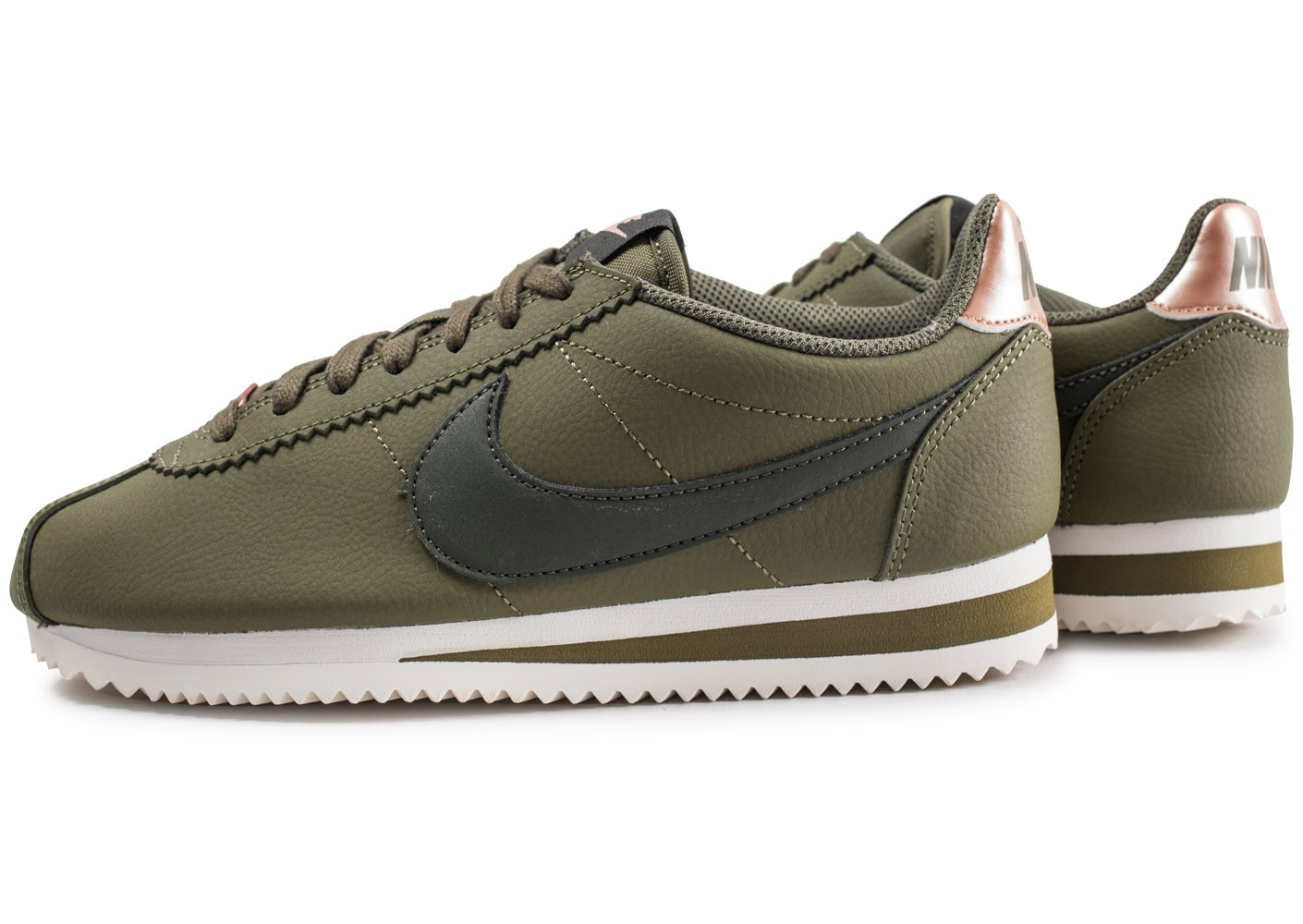 Nike Classic Cortez Leather kaki femme - Chaussures Baskets ...
