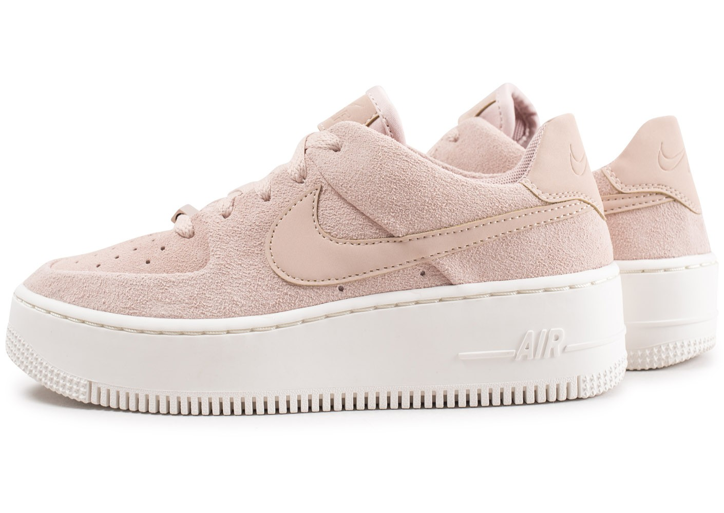 Basket Nike air force one cuir daim nubuck beige 37 37,5 plateforme