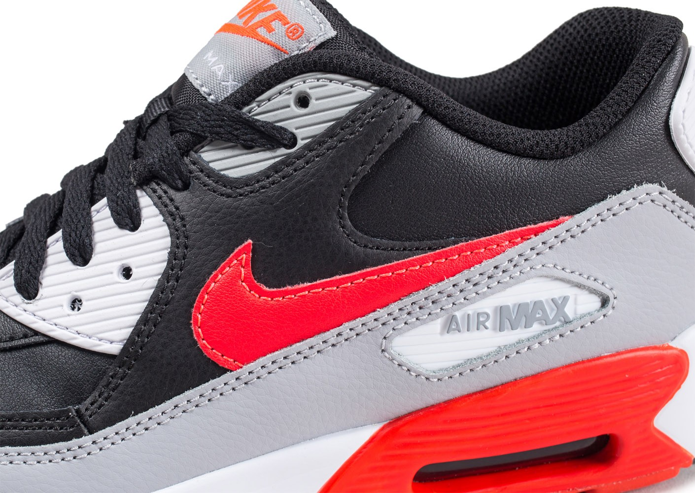 low priced eb634 87c7a ... Chaussures Nike Air Max 90 Leather noire et rouge junior vue dessus